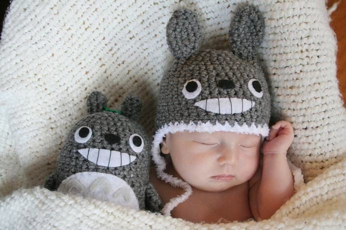 Newborn Totoro Hat and a Doll by AmiAmigos