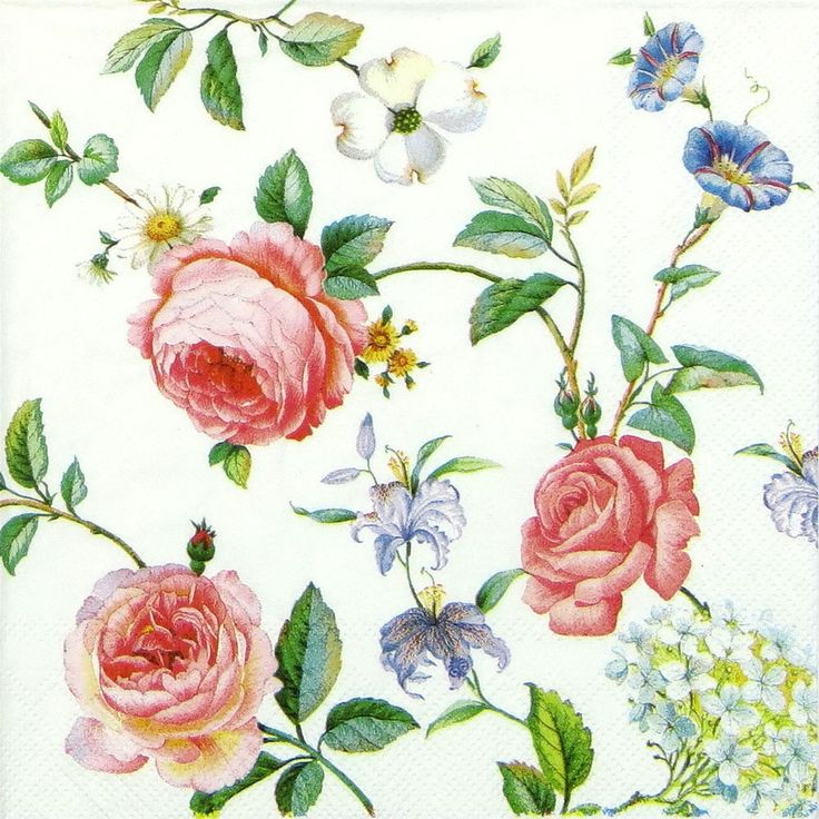 4 x Single Luxury Paper Napkins for Decoupage and Craft Vintage Grace White