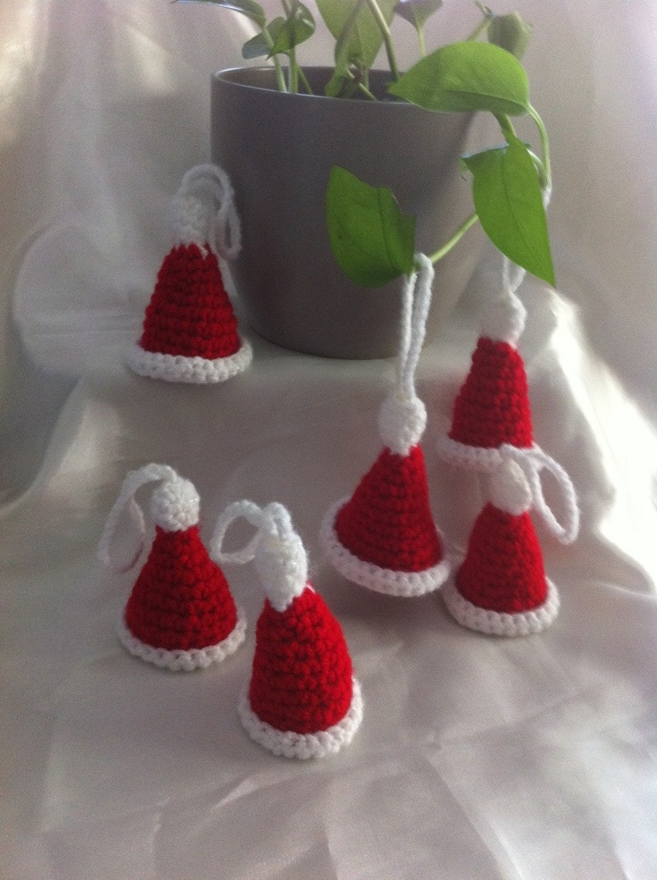Christmas Ornament Crochet / set of 6 little santa hats by NARELO, $18.00