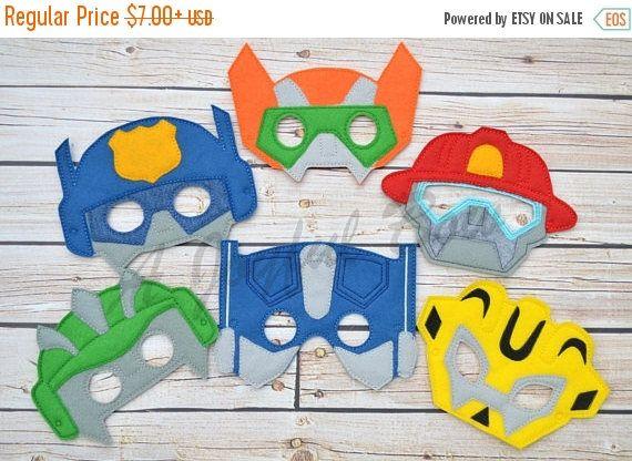 VENTE prolongée 6/23 sauvetage bot inspiré habille et party favor masques, transformateurs, anniversaire de transformateur, anniversaire de bot de sauvetage, sauvetage bot