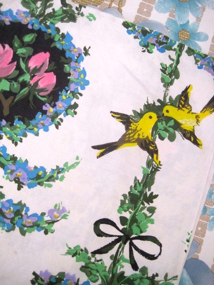 1950s French Bird Fabric - Suzanne Fontan Fabric #vintage fabric crafts #vintage fabric patterns #vintage fabric ideas #vintage fabric crafts #vintage fabricideas #stoff #50er #tissu #desannées50