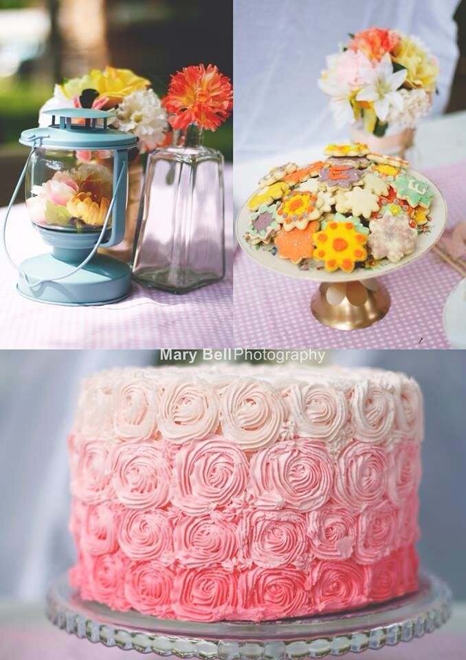 Shabby Chic Floral Themed Baby Shower. Adorable! Flower Sugar Cookies.  Picnic Style.