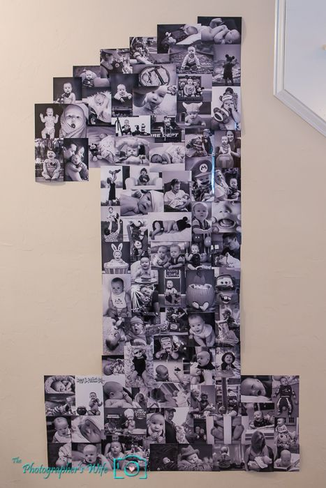 1 photo collage for a 1st birthday party using 100 different photos throughout baby's 1st year