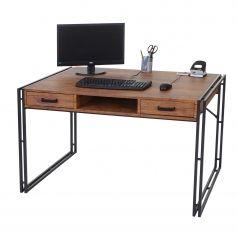 Schreibtisch Dohna, Bürotisch Computertisch, 121x70cm 3D-Struktur ~ Wildeiche