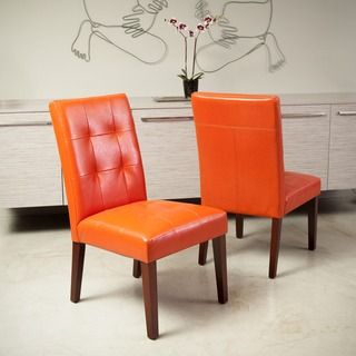 Cambridge tufted orange bonded leather dining chair set for Tufted leather dining room chairs