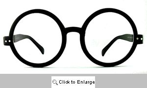 Sheridan Big Round Clear Lens Glasses - 553E Black