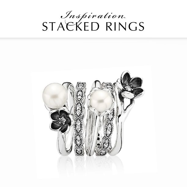 Combine lustrous white cultured pearls with edgy black for the perfect monochrome look. Add a bit of sparkle to shine all night. #PANDORA #PANDORAring