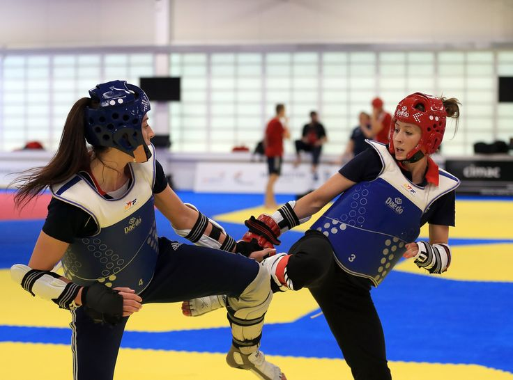 Jade Jones (R) and Bianca Walkden train during the announcement of taekwondo athletes named in Team GB for the Rio 2016 Olympic Games at the National Taekwondo Centre on June 22, 2016 in Manchester, England.