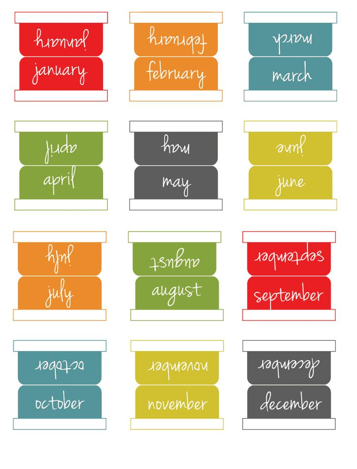 Printable monthly tabs