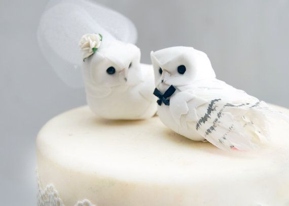 SALE! Snowy Owl Wedding Cake Topper in Winter White: Rustic Bride and Groom Love Bird Cake Topper -- LoveNesting Cake Toppers