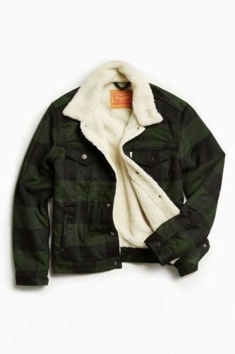 Mens-Levis-Dark-Green-Plaid-Sherpa-Fur-Lined-Trucker-Jacket-Coat-XXL-NWT