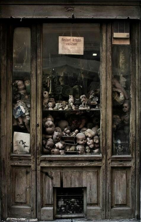 "Abandoned: That's not creepy at all...said in sarcastic font...""let's keep a cabinet full of doll heads. They said. It's completely normal. They said."""