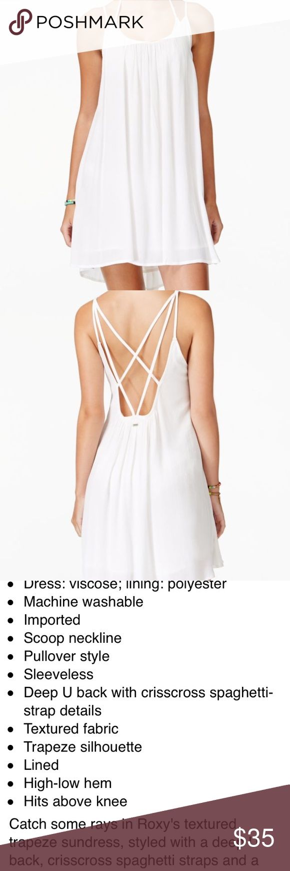 Roxy Juniors White Strappy Sundress Roxy juniors windy fly away white strappy trapeze sundress. Size small. Worn/washed once. Purchased from Macy's Roxy Dresses