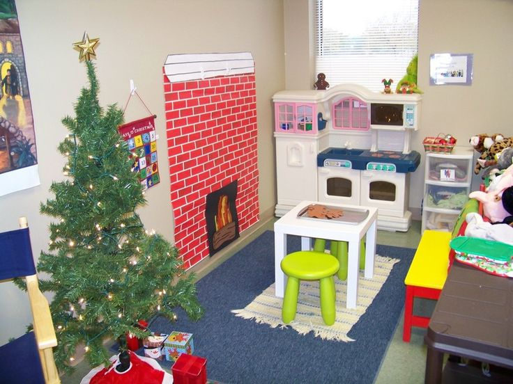 """Christmas dramatic play area - helps children """"act out"""" their excitement about the holiday, while also developing their language and social skills"""