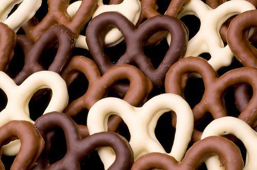 chocolate covered pretzels (dark, milk, white)