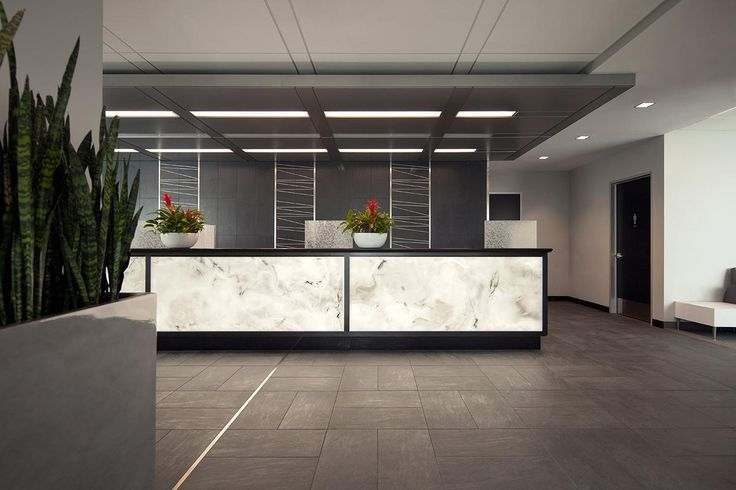 Reception desk with LightPlane Panels shown in ViviStone White Onyx glass with Standard finish at Scott P. Leary, M.D., San Diego, California