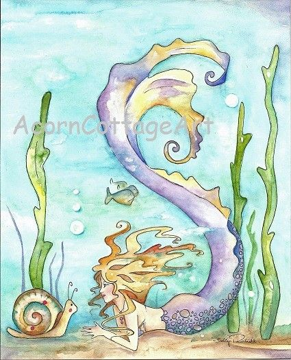 Mermaid Art..ERIS... a Mermaid and  and a SnAiL by AcornCottageArt ..................   :-)
