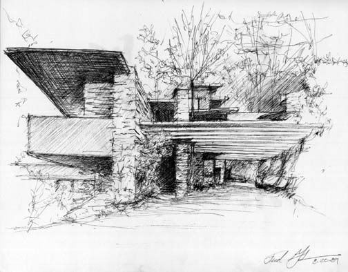sketch of Villa on the falls by Frank Loyd Wright
