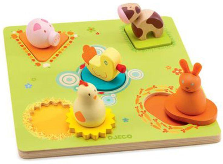Djeco Knoppussel Duck & Friends är ett fint pussel med roliga figurer på en träbräda. De härliga pusselbitarna är i filt och föreställer olika sorters djur från en bondgård. Greppvänliga för ditt barn och riktigt roliga att pussla med! Ett pedagogiskt och roligt sätt att lära sig namnen på de vanligaste djuren! <br><br>- Pusselbitarna föreställer en gris, en anka, en höna, en ko och en liten kanin.<br><br>Rekommenderad ålder: Från 1 år.<br><br>Mått 21 x...