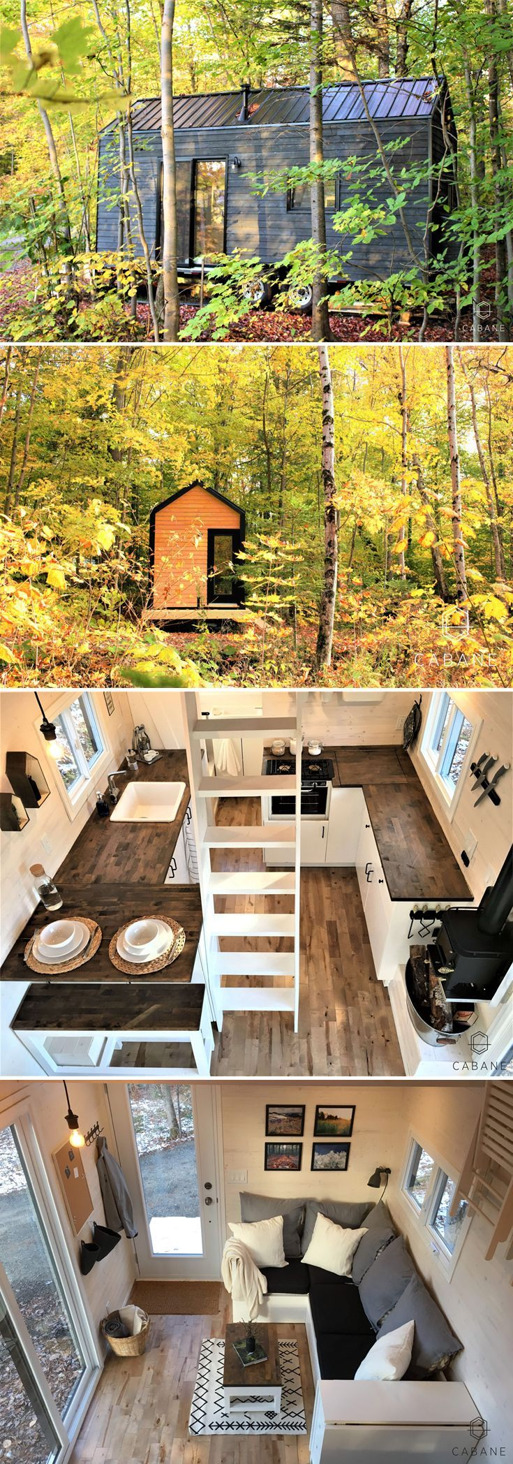 This 256-square-foot Scandinavian-inspired tiny cabin is 20-feet long and can ac…    This 256-square-foot Scandinavian-inspired tiny cabin is 20-feet long and can accommodate up to five people between its two lofts and sleeper sofa. This 256-square-foot Scandinavian-inspired tiny cabin...