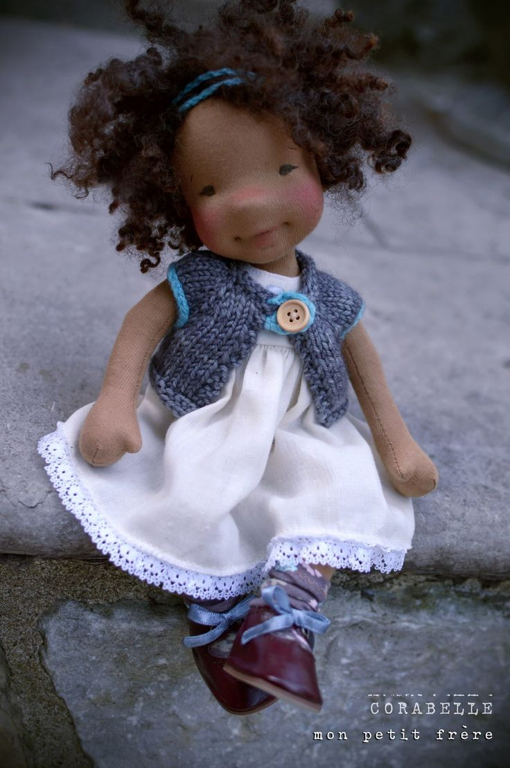 Natural fiber art doll by Mon a petit Frere