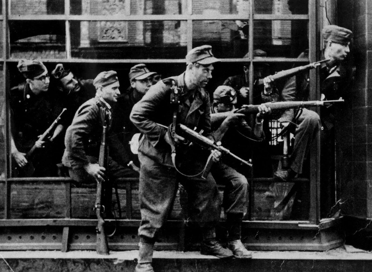 Members of the SS Dirlewanger Brigade during the fighting in Warsaw in August 1944. The Dirlewanger Brigade was the most infamous SS formation; composed exclusively of convicted felons, the brigade slaughtered indiscriminately and won the abhorrence of even senior SS commanders, who tried to disband it. Led by Oskar Dirlewanger, it left a huge bloody imprint wherever it was deployed.