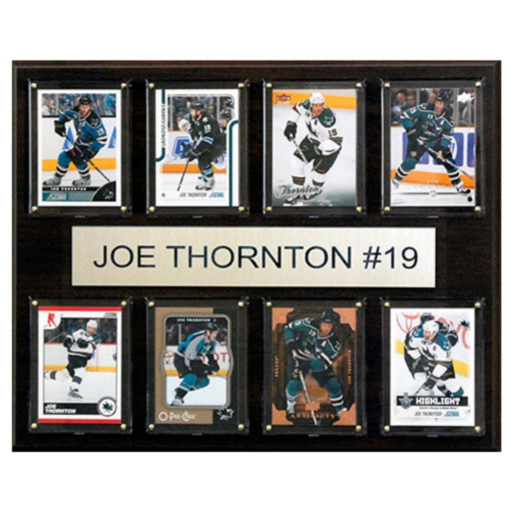 C and I Collectables NHL 15W x 12H in. Joe Thornton San Jose Sharks 8 Card Plaque - 1215THORNTON8C