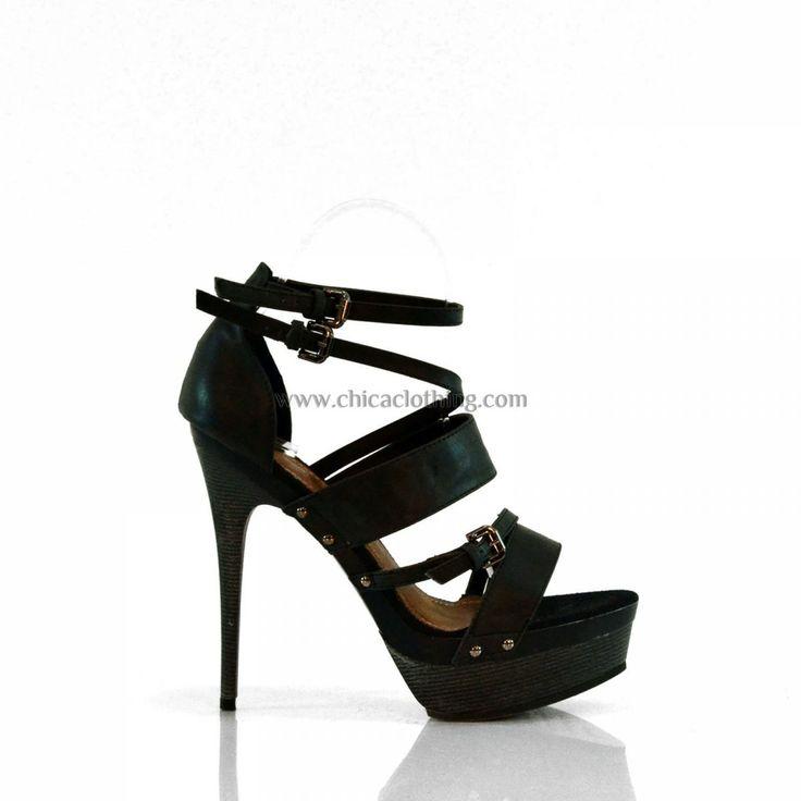 High heel sandal with straps black