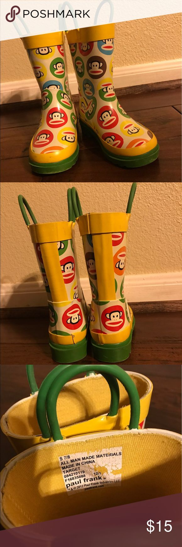Children's rain boots by Paul Frank Cute rain boots for kids size small 7/8  they are Paul Frank Paul Frank Shoes Water Shoes