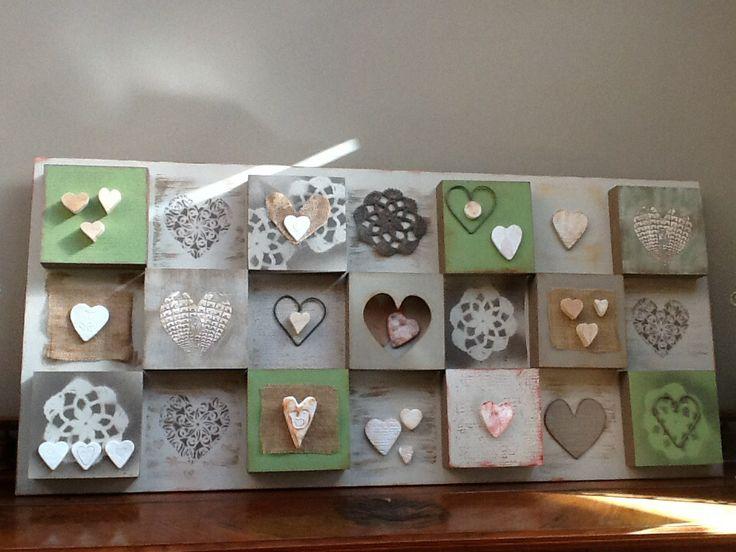 Hearts Boxed Art-mixed media