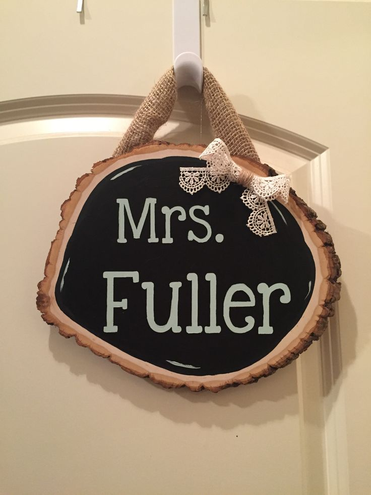 Camping theme or woodlands theme. Teacher Name Plate Shabby Chic, chalkboard paint, silhouette project