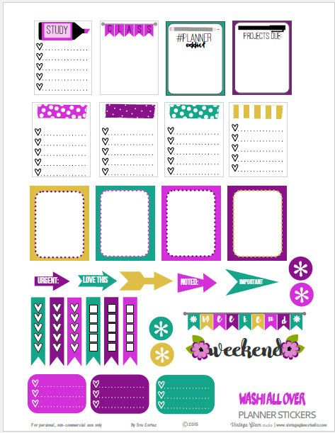 Free Printable Washi All Over Planner Stickers from Vintage Glam Studio