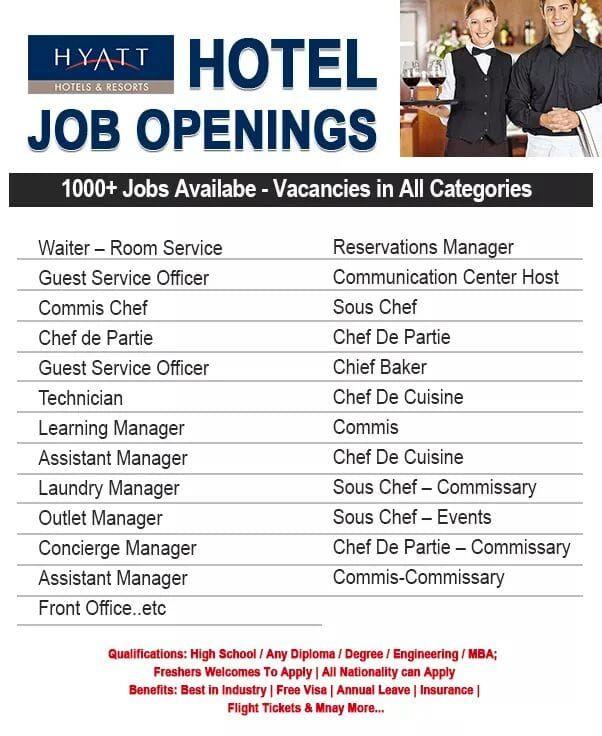 Hyatt Hotel Jobs Jobs In Gulf Hotels 2020 In 2020 Hotel Jobs Hyatt Hotels Job Opening