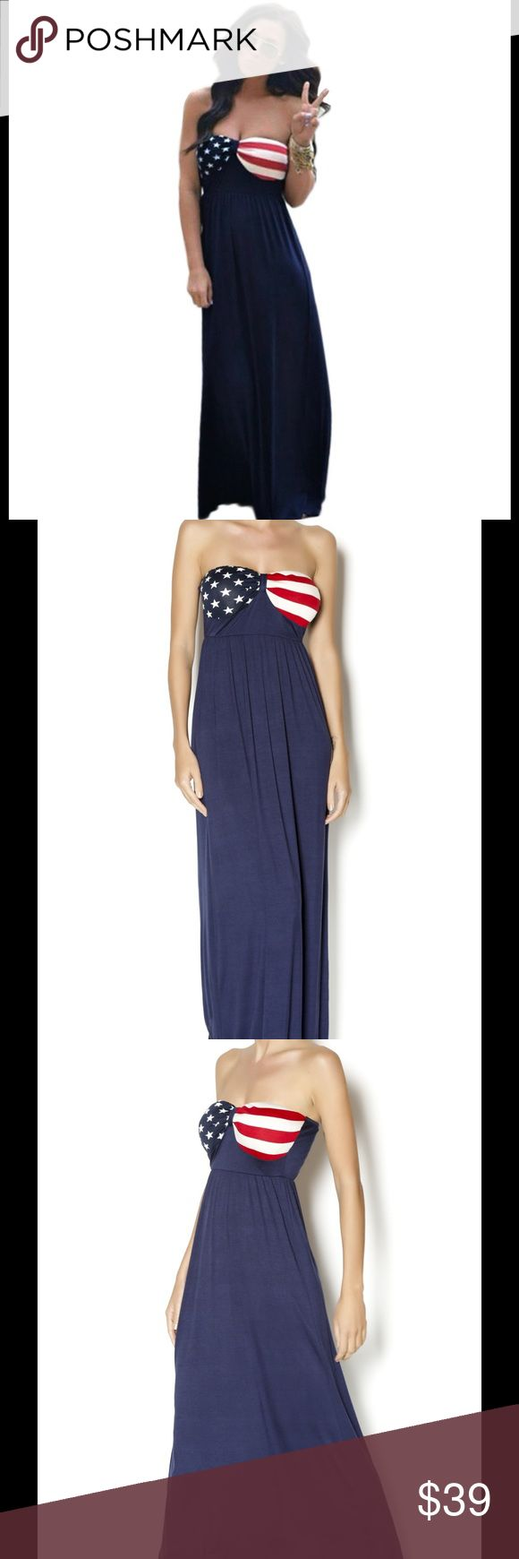 """Clearance Item! Maxi Dress! Just in time for the Fourth of July. Cute maxi dress with a flag design. Small Bust 34.5"""" Waist 28"""" Length 52.5""""  Medium Bust 36"""" Waist 29.5"""" Length 53""""  Large Bust 37.5"""" Waist 31.5"""" Length 53.5"""" Dresses Maxi"""