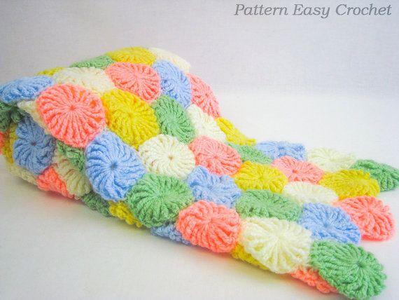 Baby blanket yo-yo puff crochet pattern - gift for newborn - instant download