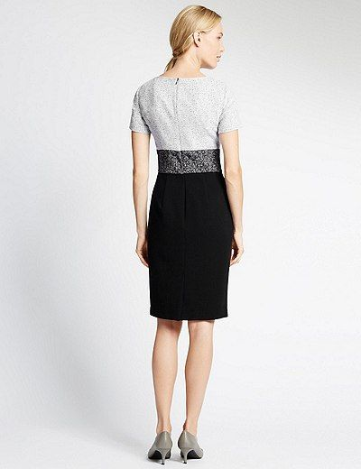 Short Sleeve Blocked Shift Dress | Marks & Spencer London