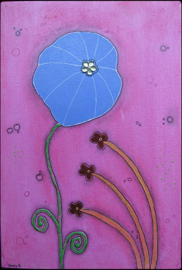 Blue flower, pink background. Mixed media on canvas. 20x30 cm. ©Sheila Nielsen