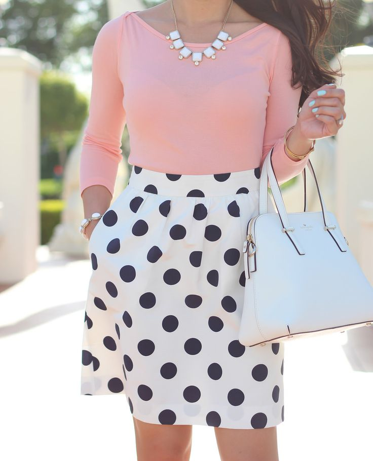 Peach top - statement necklace - Polka Dot skirt.  Details here: http://www.stylishpetite.com/2014/05/peach-polka-dots-and-stripes.html