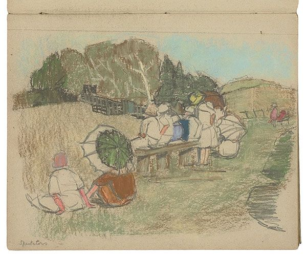 Grace Cossington SMITH, Spectators: Cricket at Hill View, Sutton Forest, 1927. Hillview was regularly opened to the public for fund-raising events.