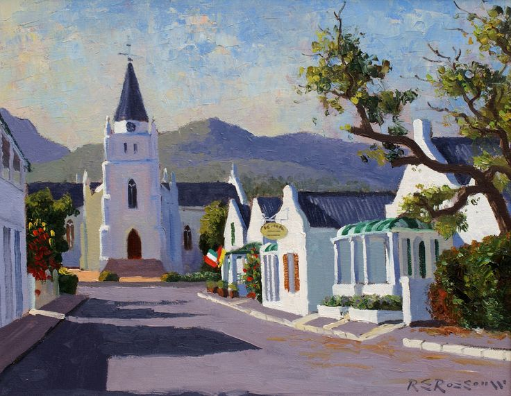 Church Street, Montagu.  Artist: Roelof Rossouw.  Oil on stretched canvas – unframed.   Size:40x50cm.   Framed, Size: 67x78cm.  Price: ZAR15,500 Painting can be purchased on our shopping cart at www.africaskygallery.com  Contact Email: info@africasygallery.com
