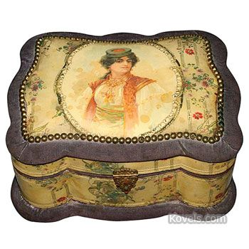 celluloid boxes | celluloid box dresser silk victorian 5 x 10 in 8 piece illustrated ...