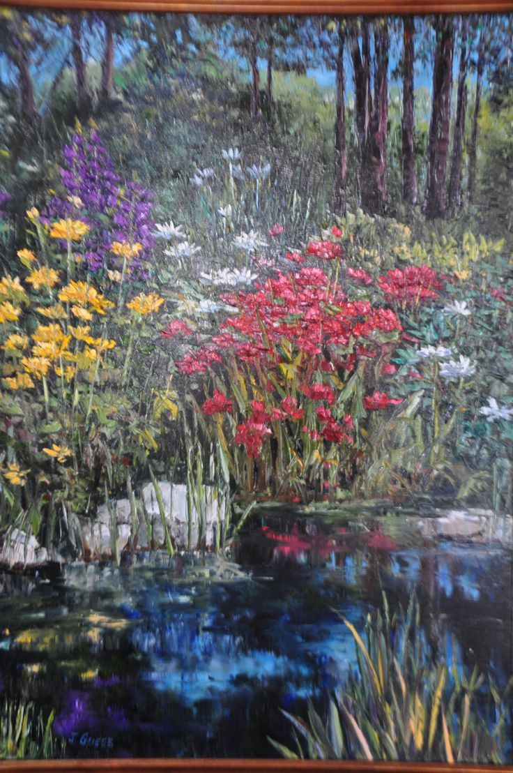 """Woodland Floral"" (2013)  Jan Guess  Oil on Canvas  34""w x 44""h;    Available through Filsinger Fine Art, Palm Desert, CA.  SOLD"