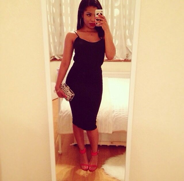 Black dress red heels outfit