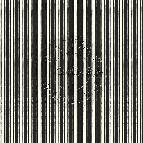7Gypsies - 12 x 12 Scrapbook Paper - Black & Ivory French Linen Stripe