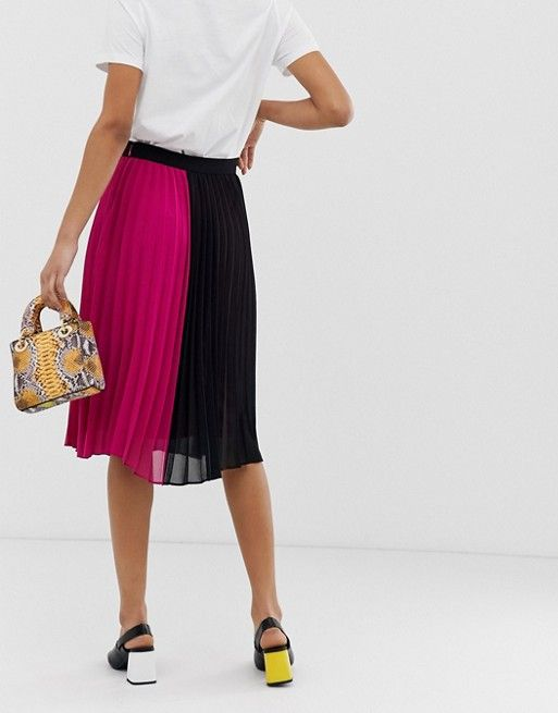 48696f4ad4 Vero Moda color block pleated midi skirt in 2019 | Clothesss | Midi ...