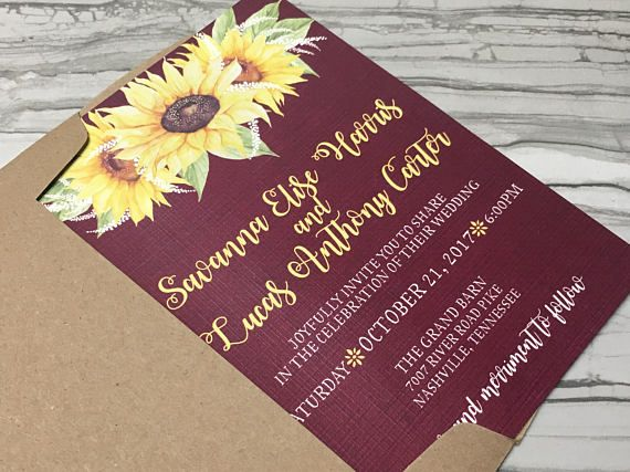 printable sunflower and burgundy burlap wedding invitation - Burlap Wedding Invitations
