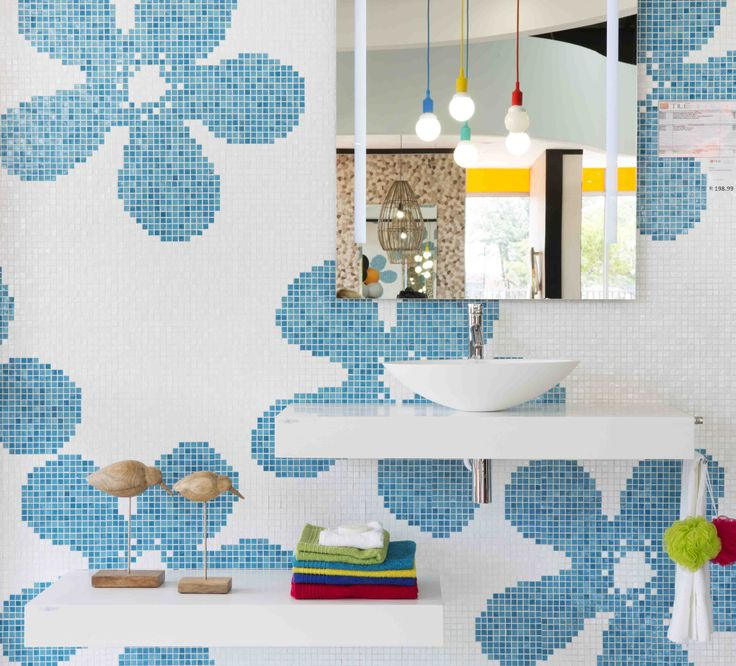 Bring a splash of whimsy into your #bathroom with a #wallpaper design made from mosaics