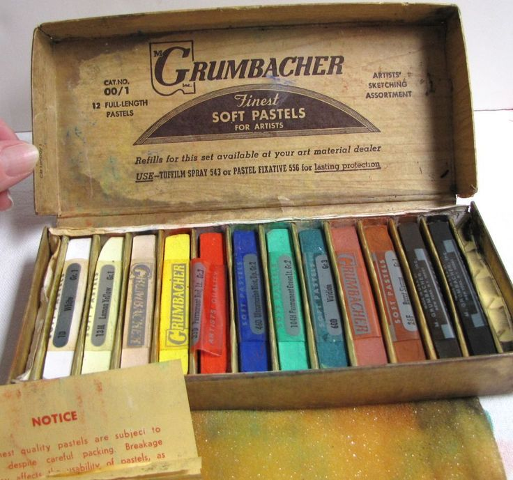 Vintage Grumbacher Soft Pastels, Orig. box, Art Soft Pastels,  Art Supplies #Grumbacher