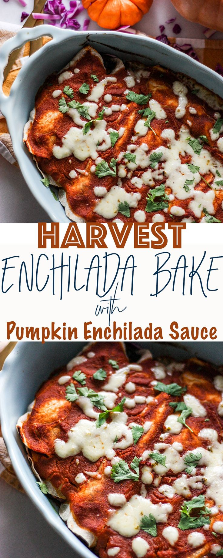 Harvest Turkey Enchiladas with Paleo Pumpkin Enchilada Sauce - a big batch enchilada recipe perfect for feeding a crowd - paleo option, gluten free option, dairy free option