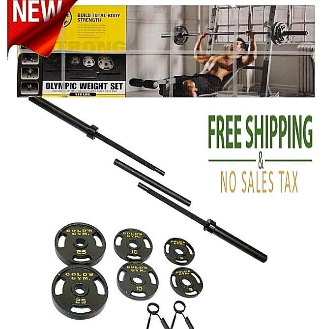 110 lbs Olympic Weight Set Cast-iron 6 plates, Bar Kit Gym Training Build Muscle #GoldsGym